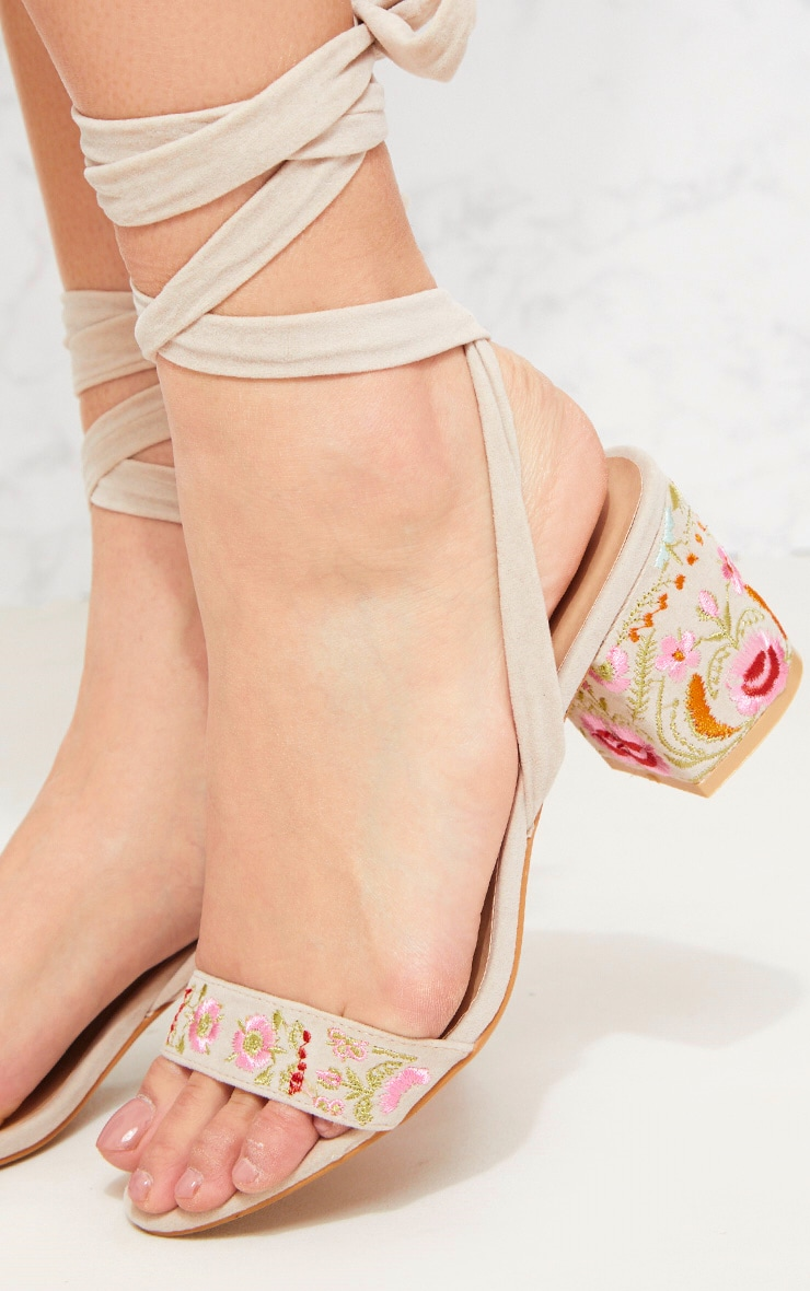 Nude Embroidered Lace Up Block Heeled Sandals 5