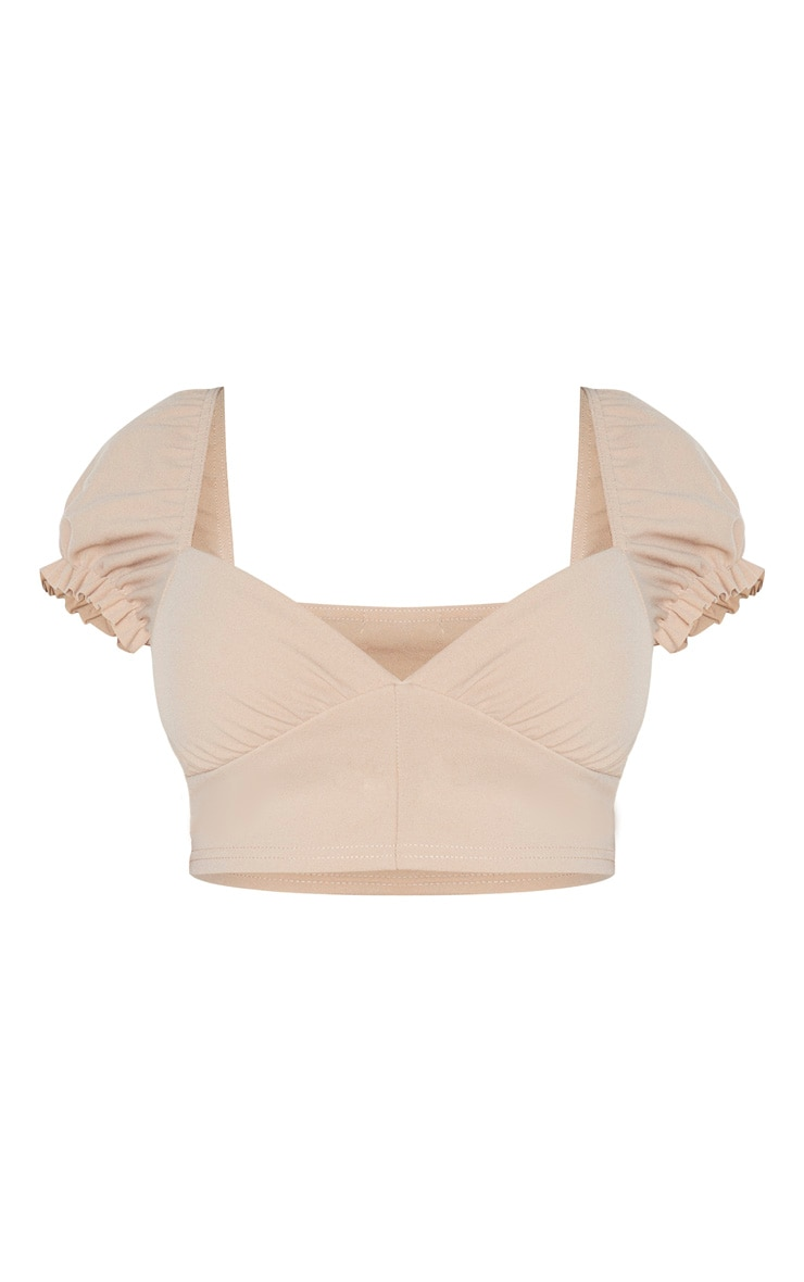 Shape Stone Plunge Puff Sleeve Crop Top 4