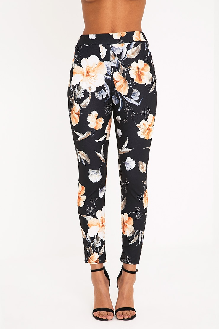 Black Floral Print Trousers 2