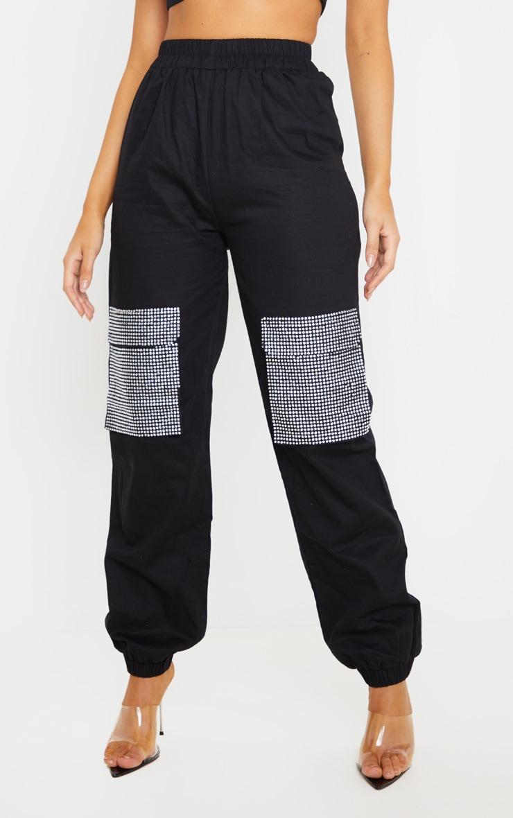 Black Diamante Pocket Detail Cargo Trousers 2