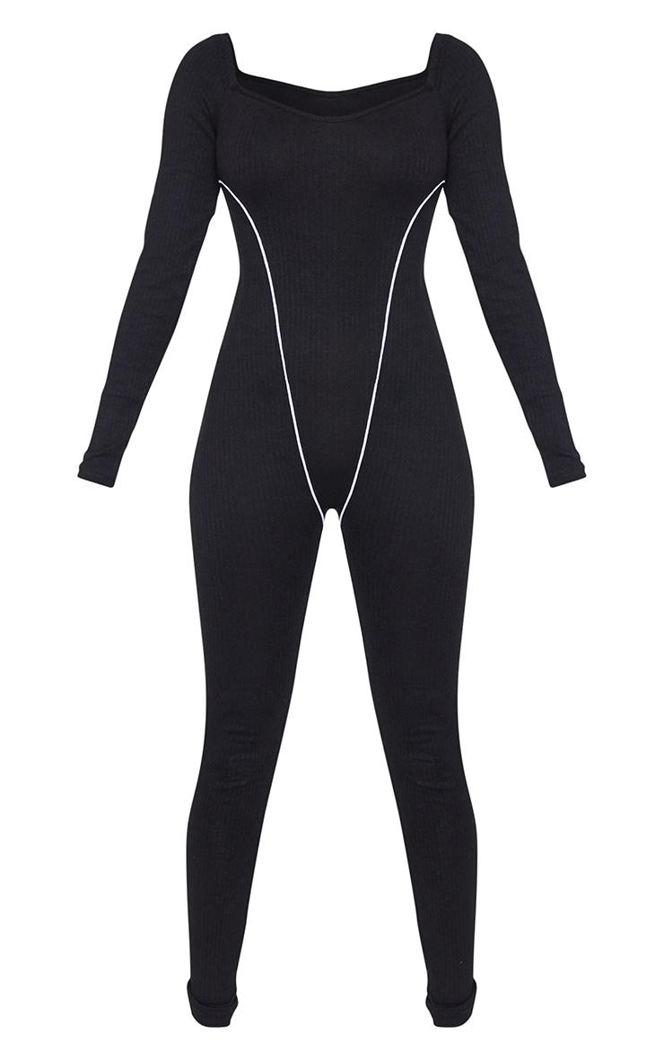 Black Thick Rib Contrast Seam Detail Jumpsuit 5