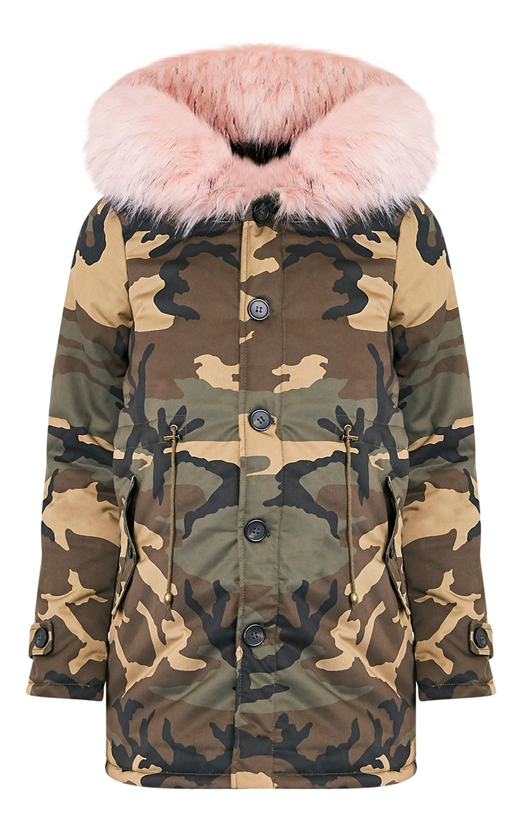 Fliss Baby Pink Camo Faux Fur Lined Parka 3