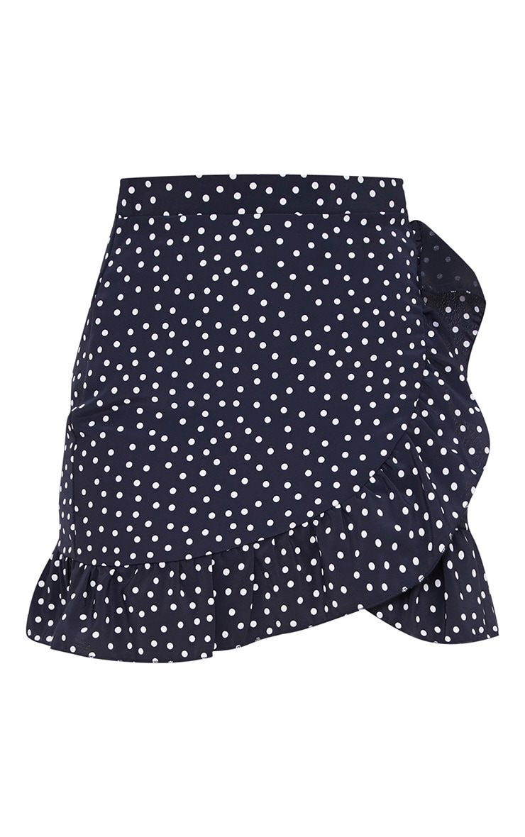 Navy Spot Print Frill Hem Wrap Mini Skirt 3
