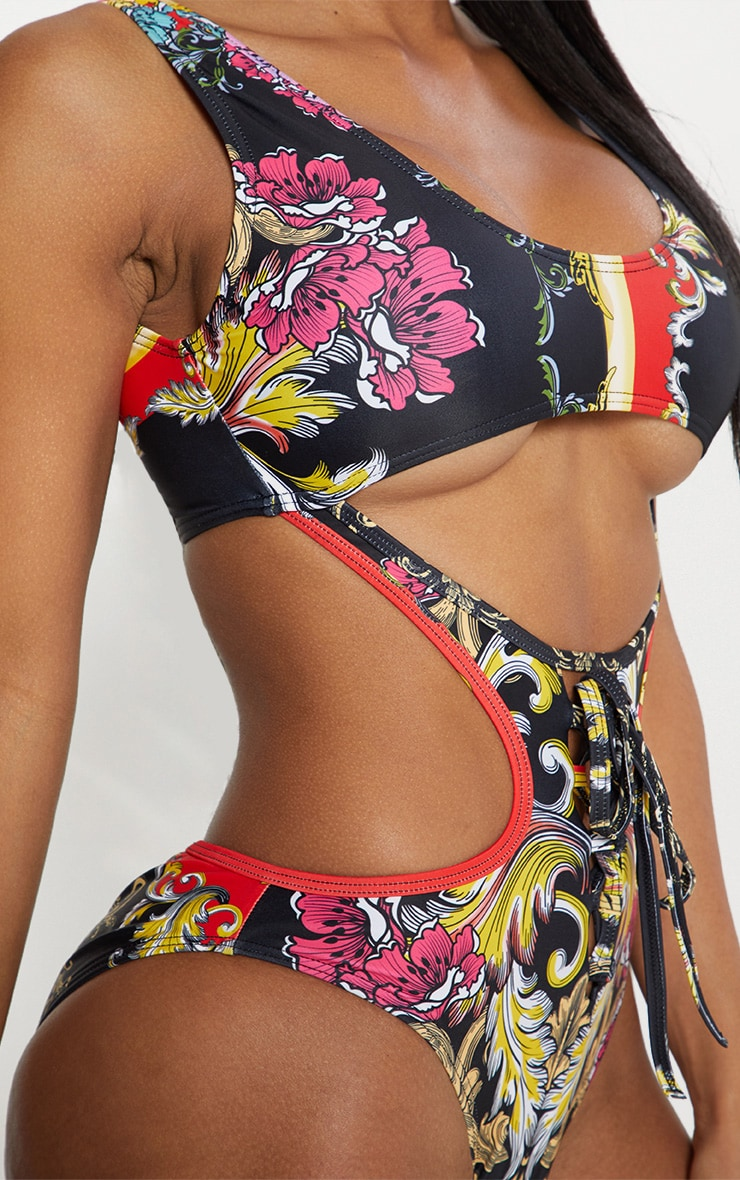 44ca01f7a9e89 Black Baroque Under Bust Cut Out Swimsuit image 6