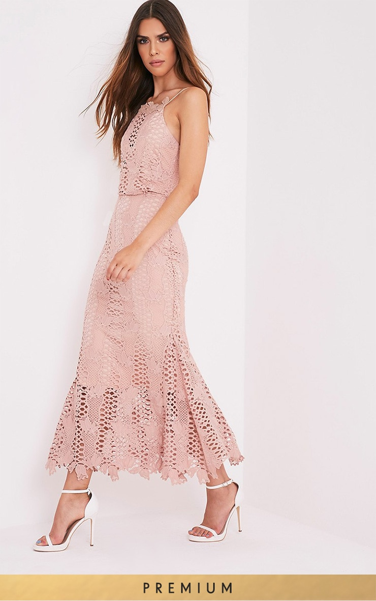 Reeya Nude Lace Midaxi Dress 1