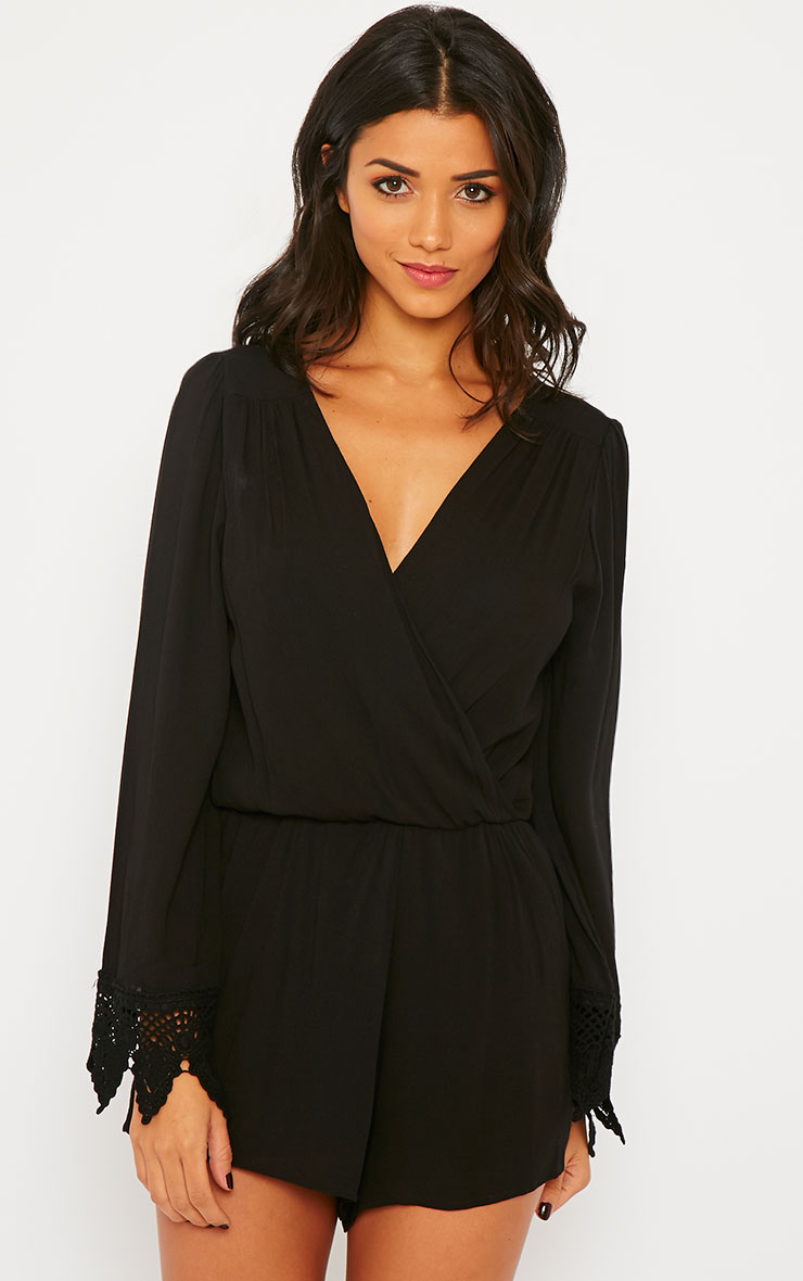 Marketta Black Wrap Front Embroidered Cuff Playsuit 4