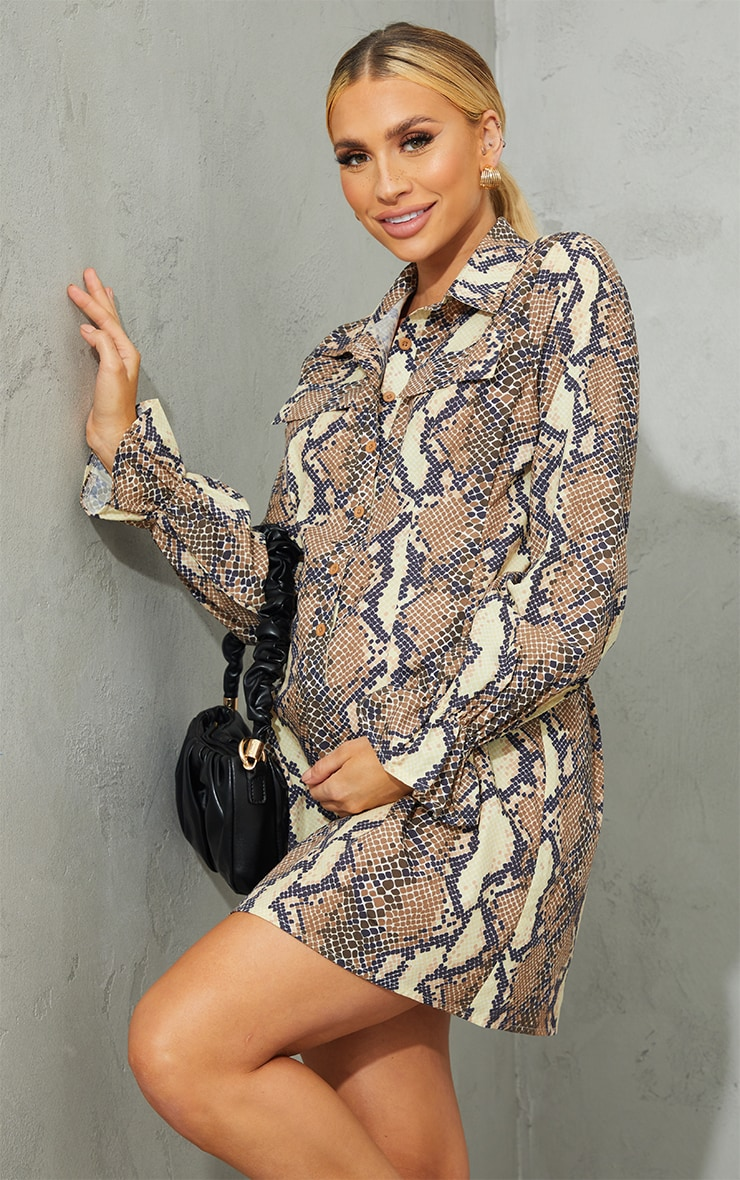 Maternity Grey Snake Print Utility Shirt Dress 1