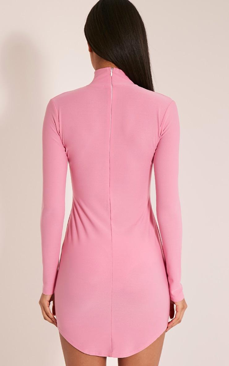 Arianna Bubblegum Pink Crepe Choker Detail Bodycon Dress 3