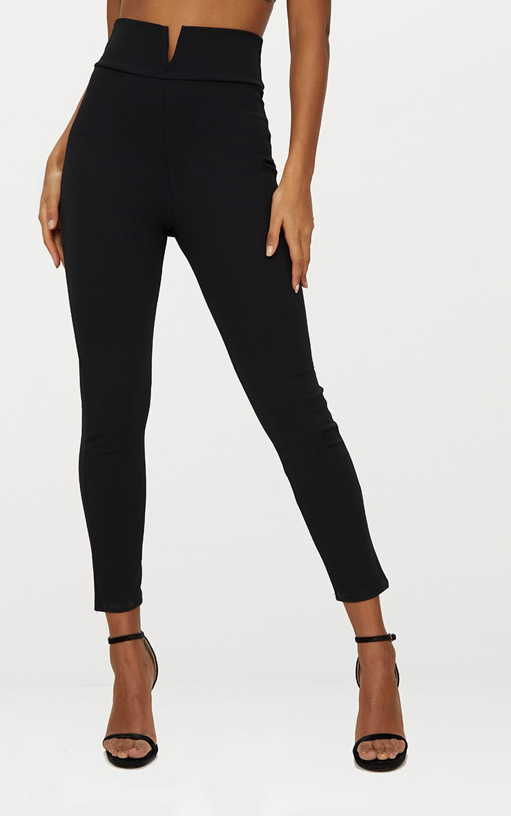 Black Cut Out Waist Skinny Pants 2