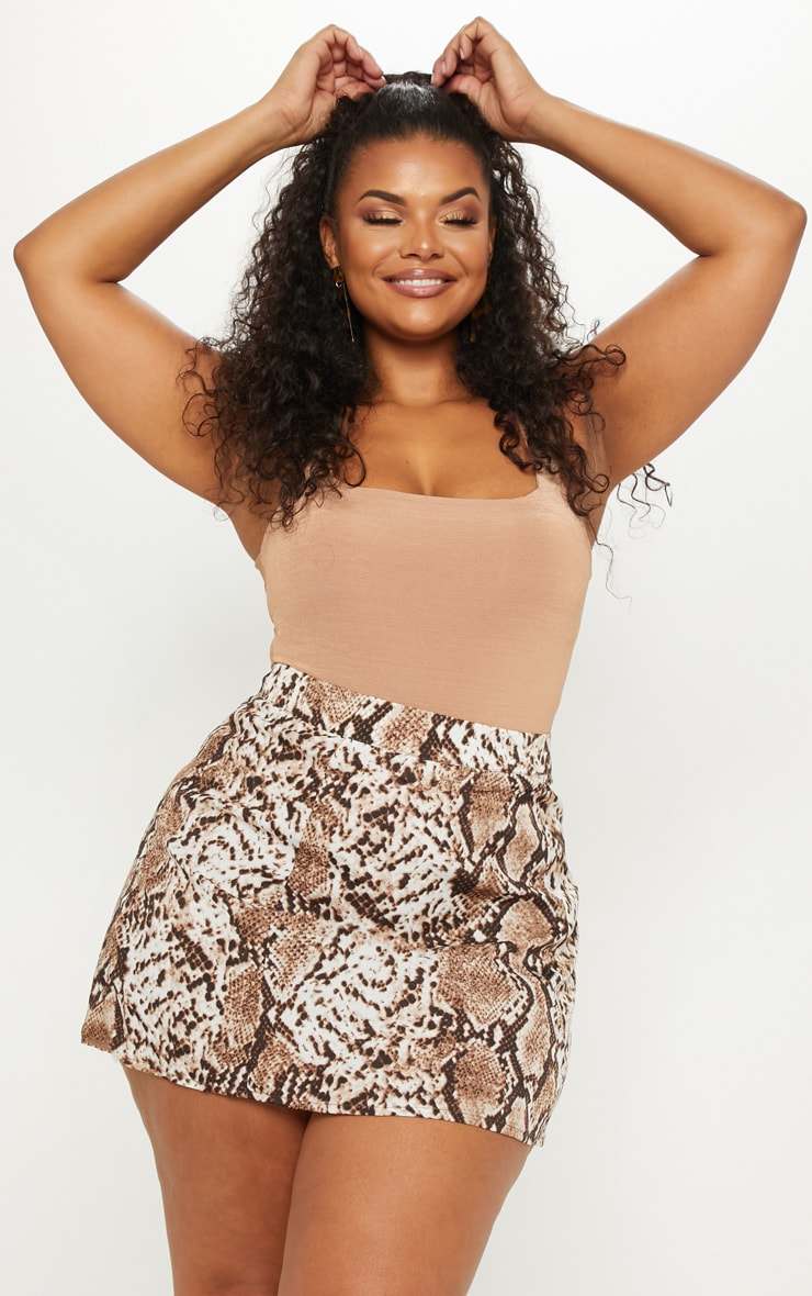 Plus Taupe Snake Print Satin Mini Skirt 5