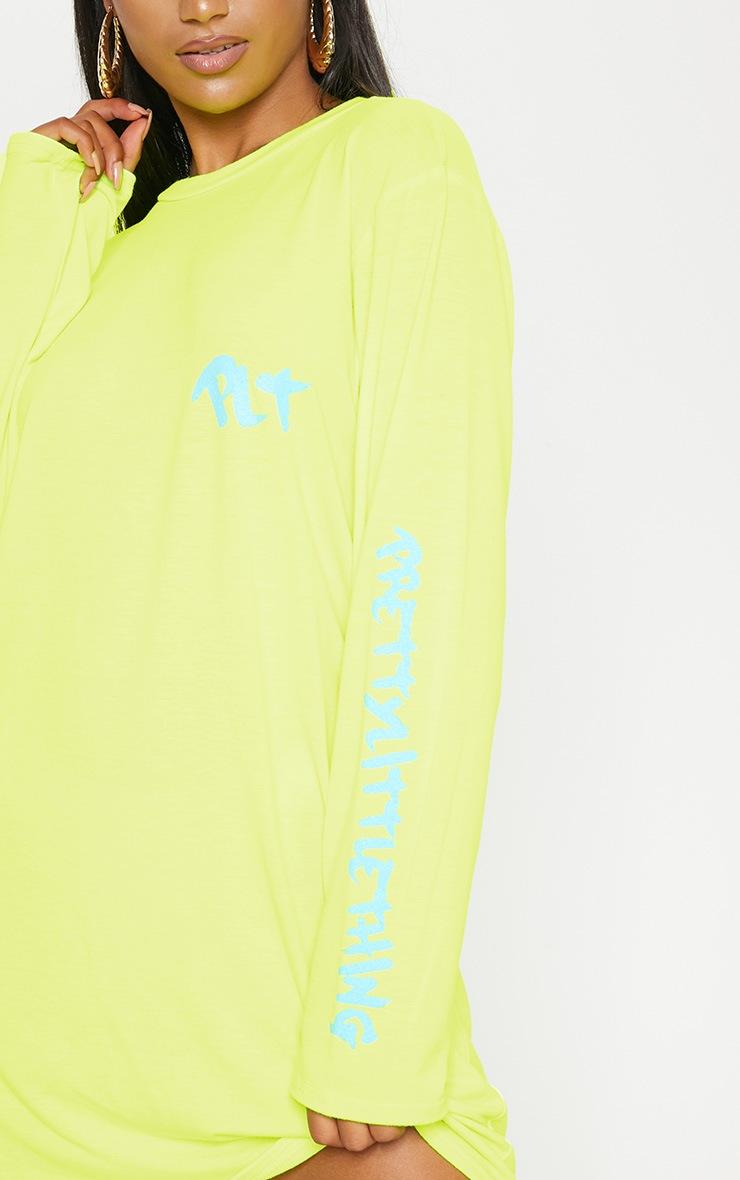 PRETTYLITTLETHING Yellow Slogan Long Sleeve T Shirt Dress 5