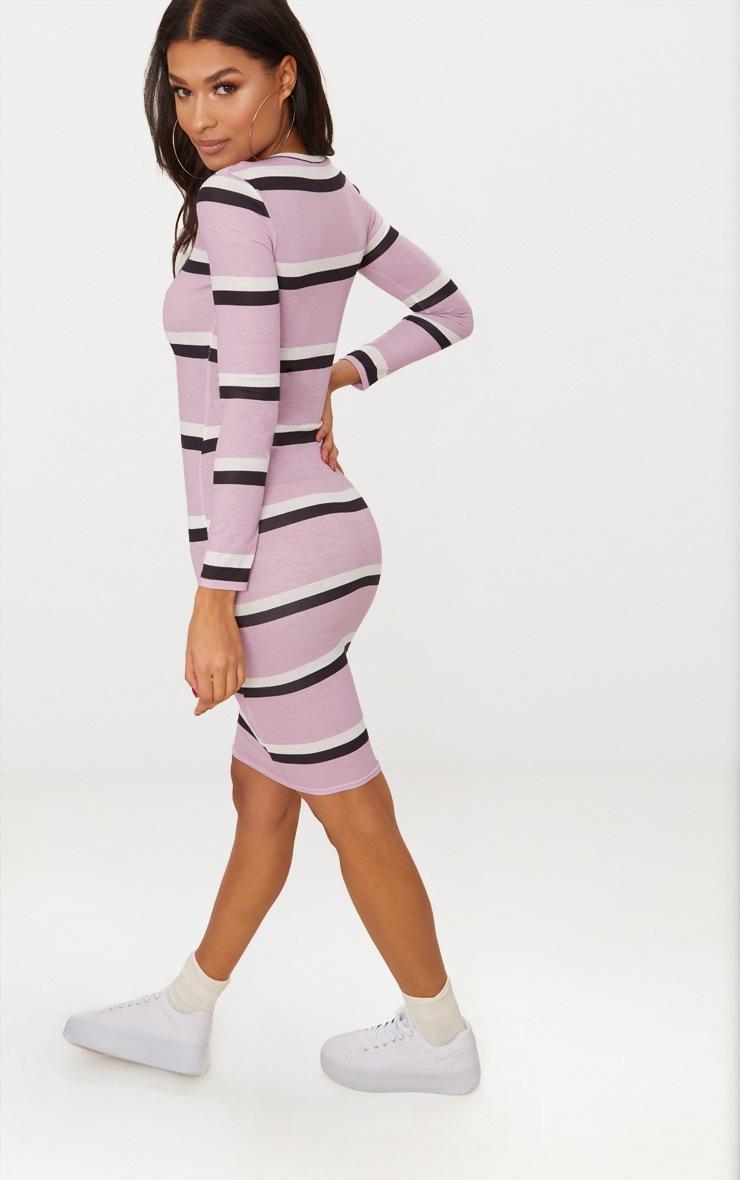 Lilac Striped Long Sleeve Midi Dress 2