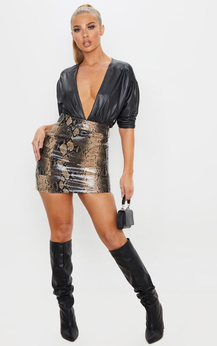 Brown Snakeskin Belted Mini Skirt 1