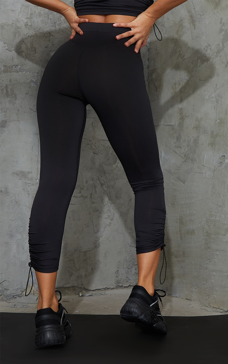 Black Toggle Ruched Cropped Gym Leggings 3