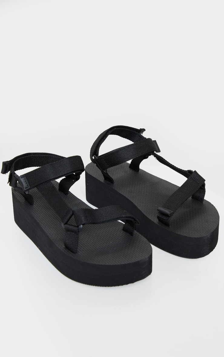 Black Wide Fit Flatform Sandals 3