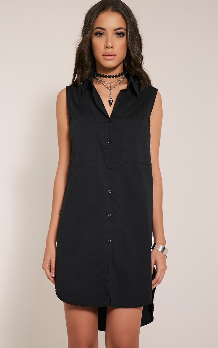 Kaydie Black Sleeveless Shirt Dress 1