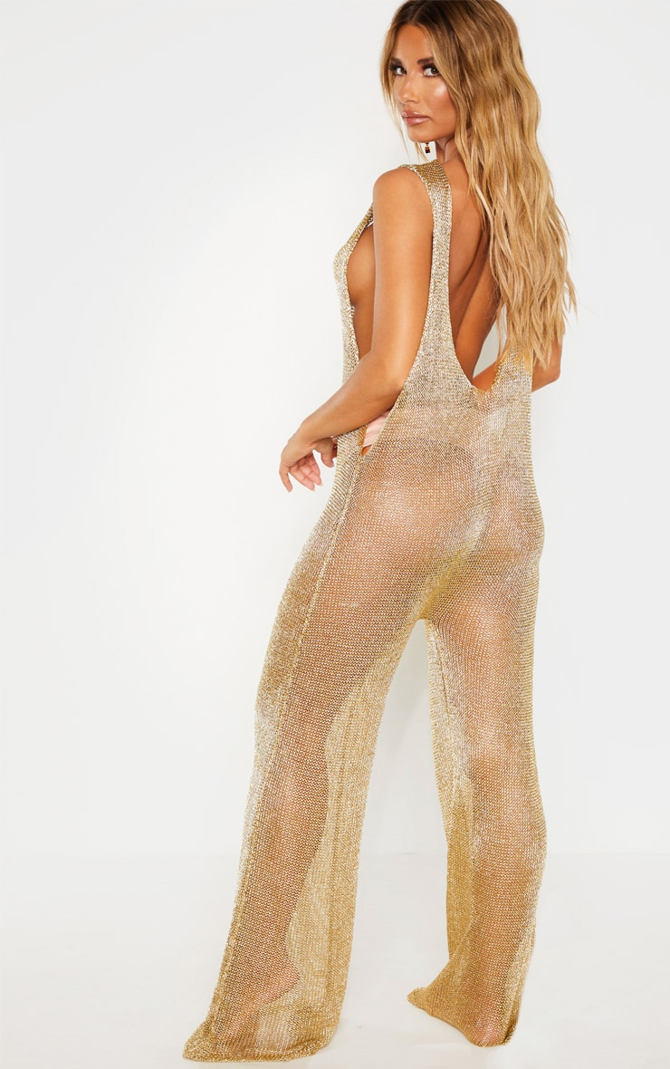 Gold Metallic Knitted Jumpsuit 2