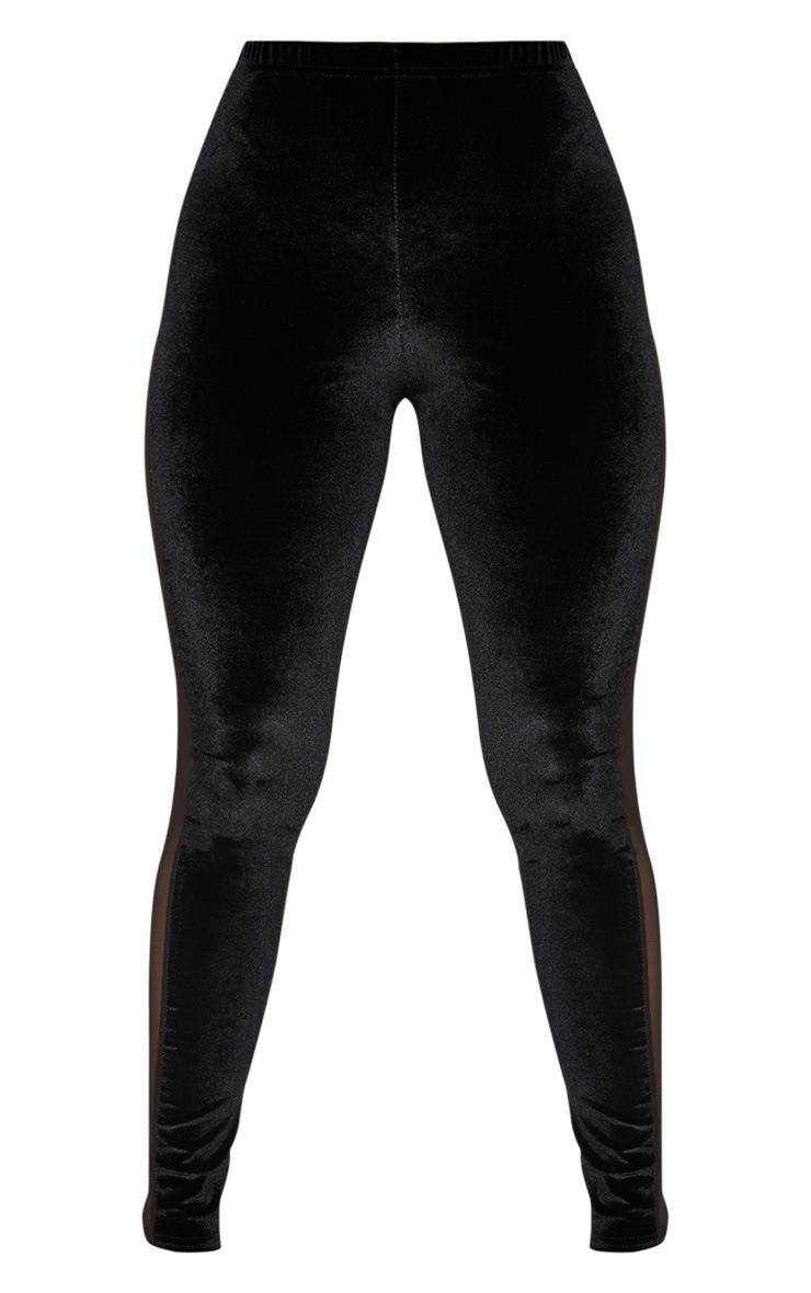 Black Velvet Mesh Panel Legging 3