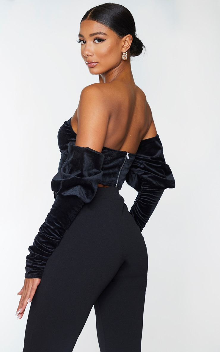 Black Velvet V Wire Bandeau Ruched Sleeve Crop Top 2