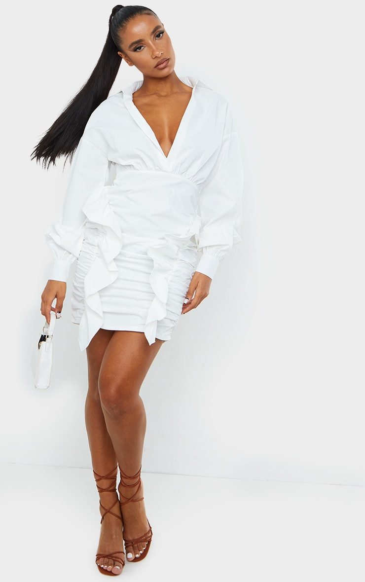 White Plunge Ruched Skirt Long Sleeve Shirt Dress 3