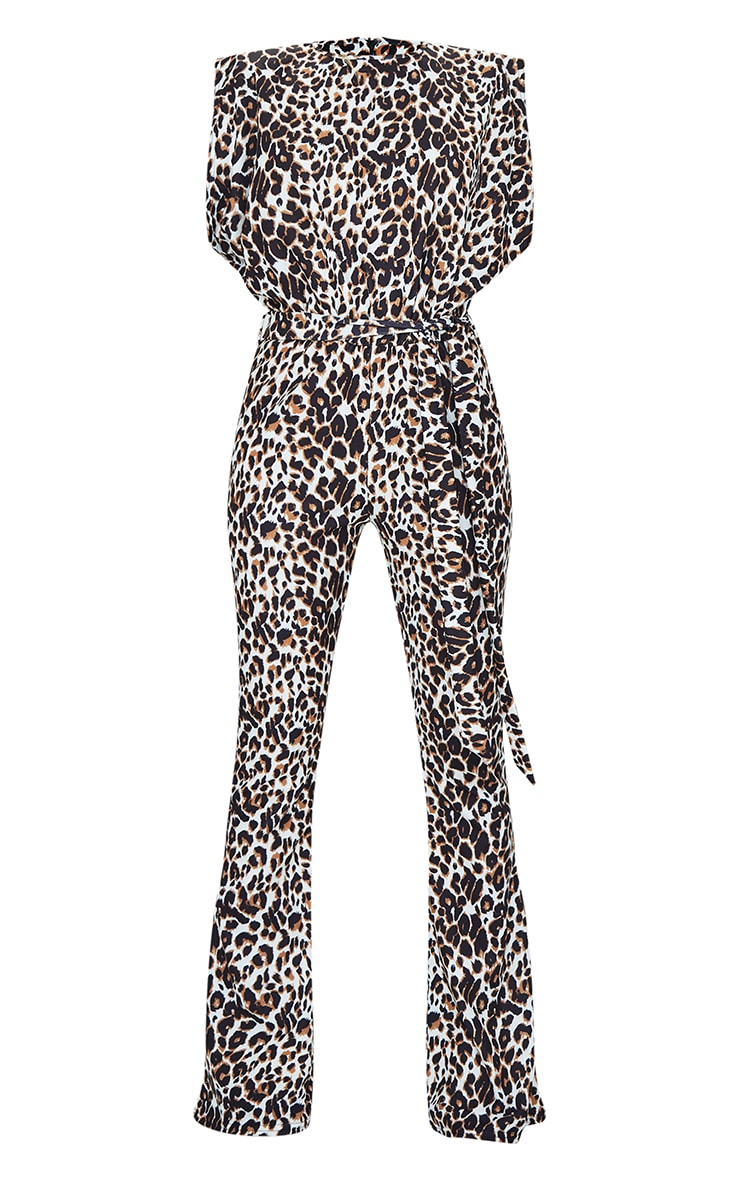 Tan Leopard High Neck Shoulder Pad Sleeveless Jumpsuit 5