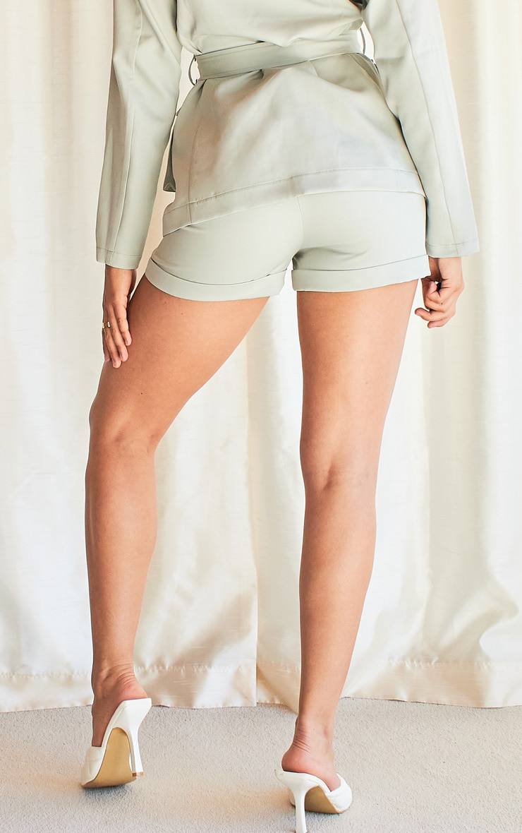 Light Blue Woven High Waist Turn Up Hem Shorts 3