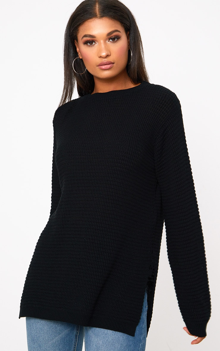 Black Purl Knit Jumper 2