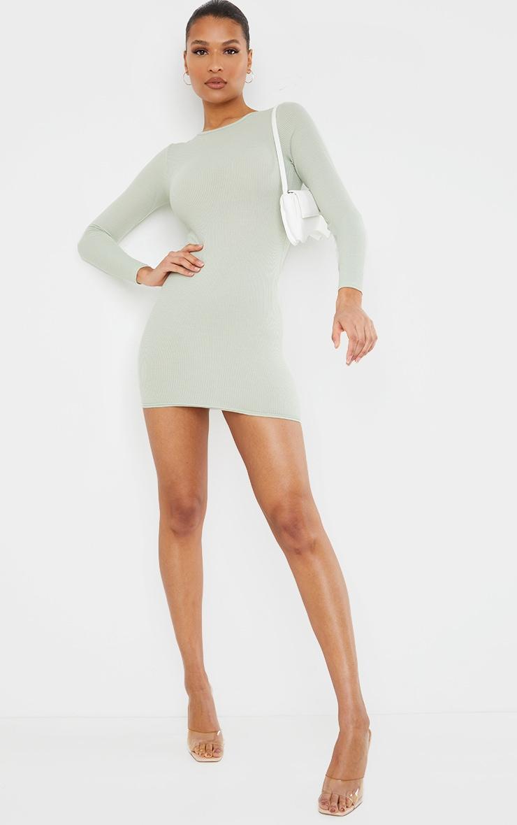 Sage Green Ribbed Long Sleeve Bodycon Dress image 3