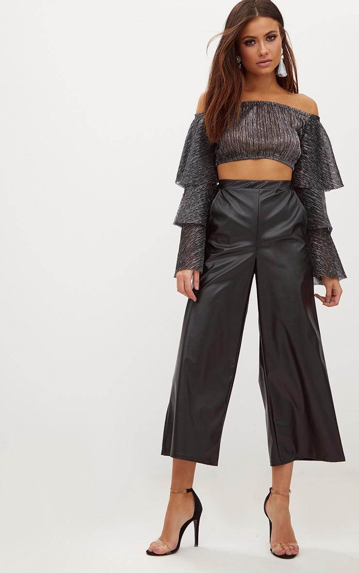Black Metallic Bardot Frill Sleeve Crop Top 4