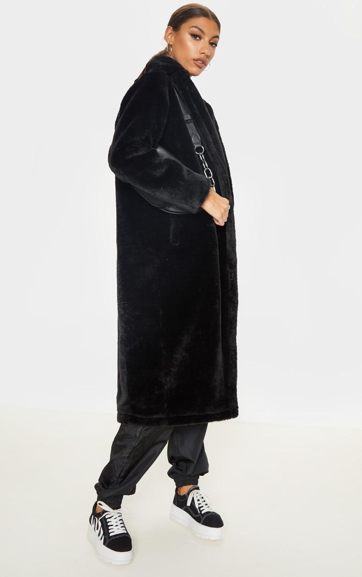 Tall Black Faux Fur Long Line Coat 4