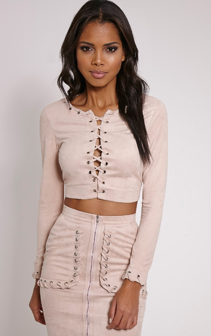 Anna Beige Faux Suede Stitch Crop Top 1