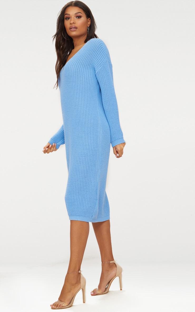Blue V-Neck Oversized Knitted Dress 4