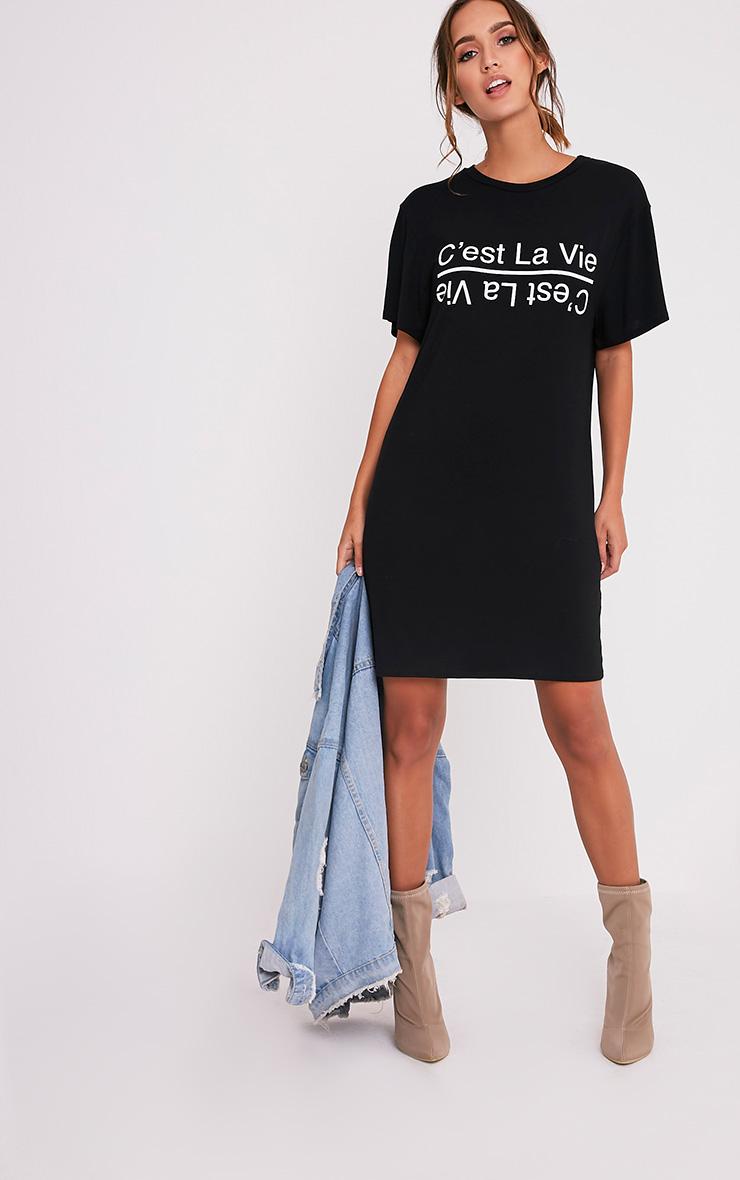 C'est La Vie Slogan Black T-Shirt Dress 5