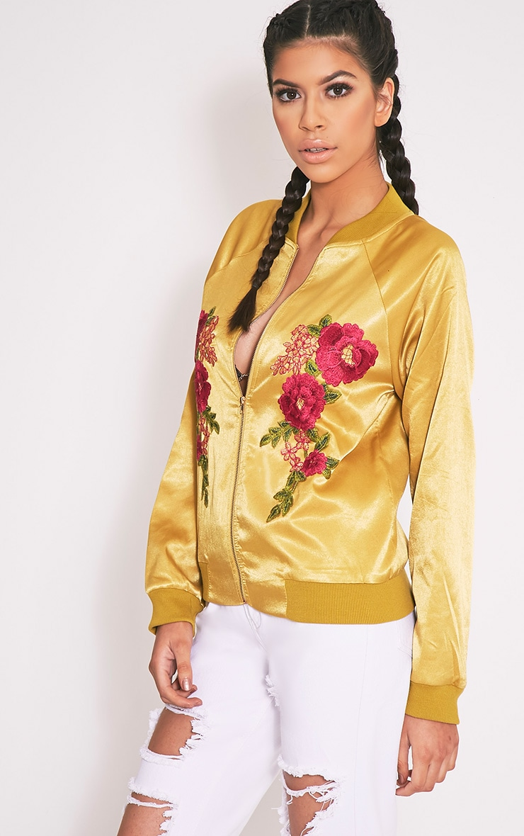 Challah Dark Lime Satin Applique Bomber Jacket 3