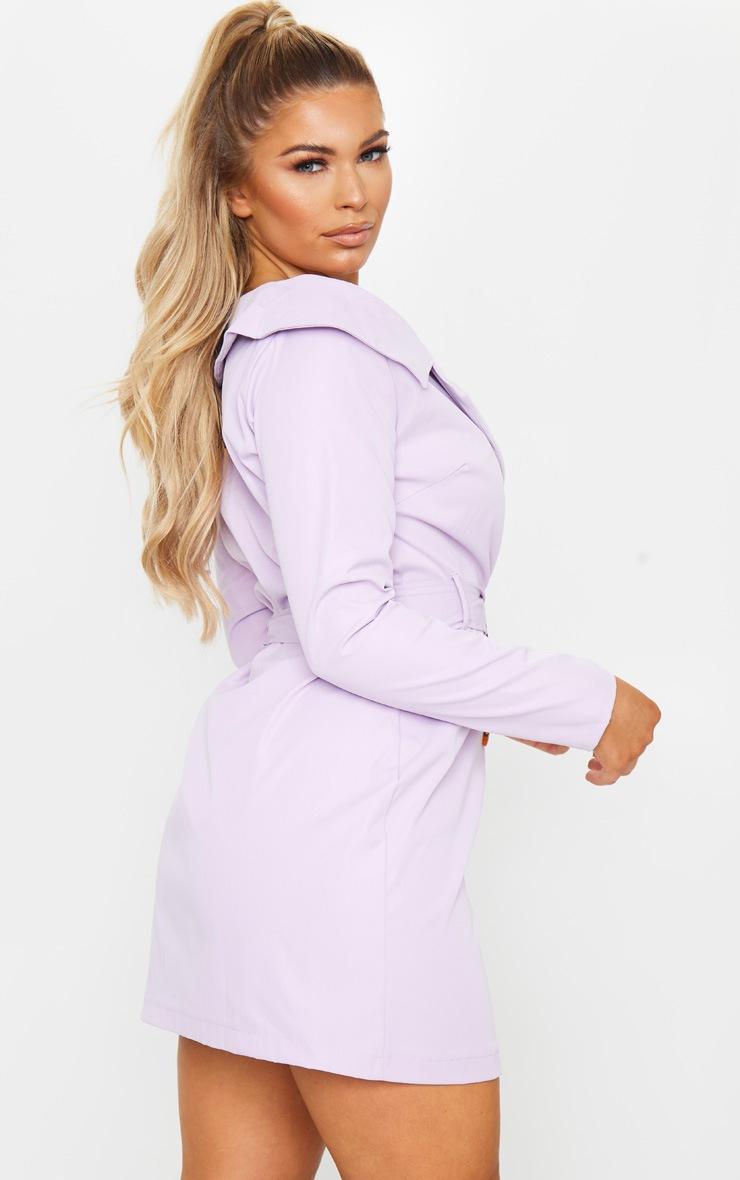 Lilac Bardot Tortoise Button Belted Blazer Dress 3