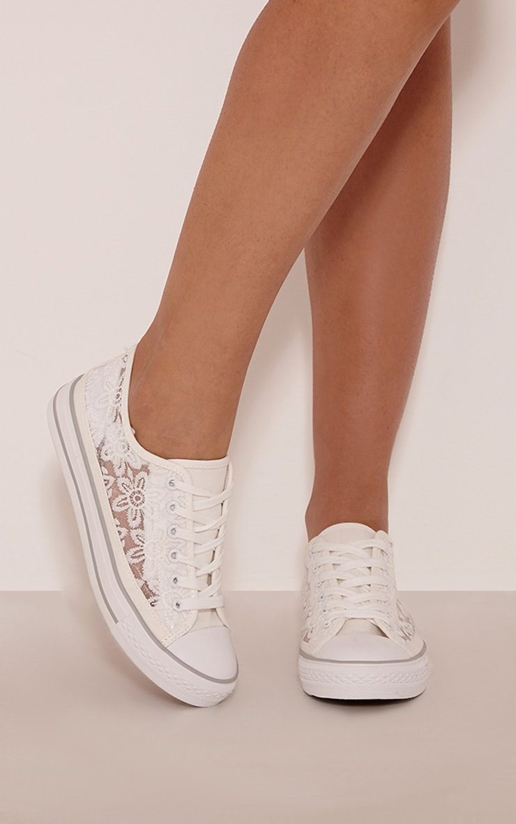 Ashlynn White Lace Side Detail Trainers 1