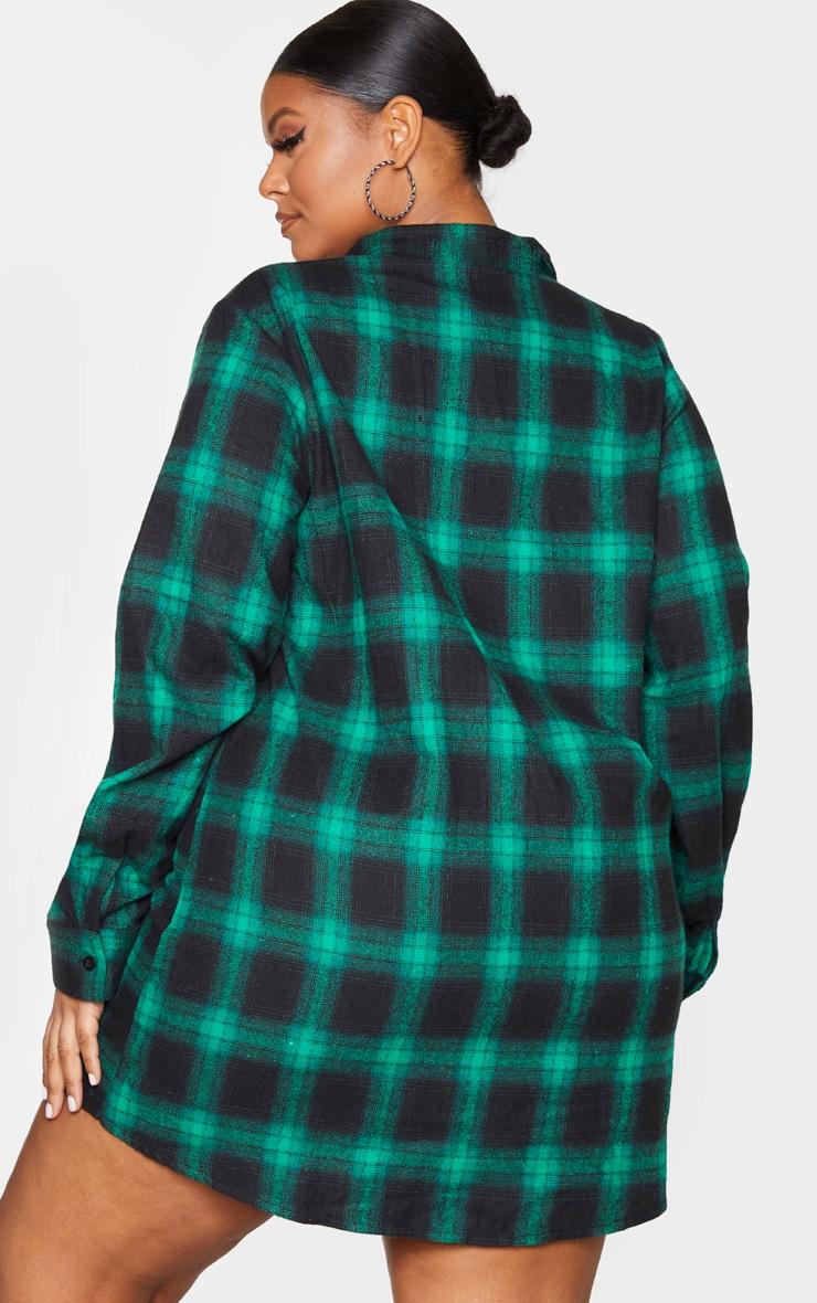 Plus Green Checked Oversized Shirt Dress 2