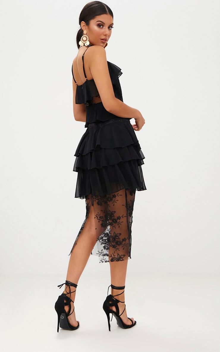 Black Strappy Lace Chiffon Layer Midi Dress 2