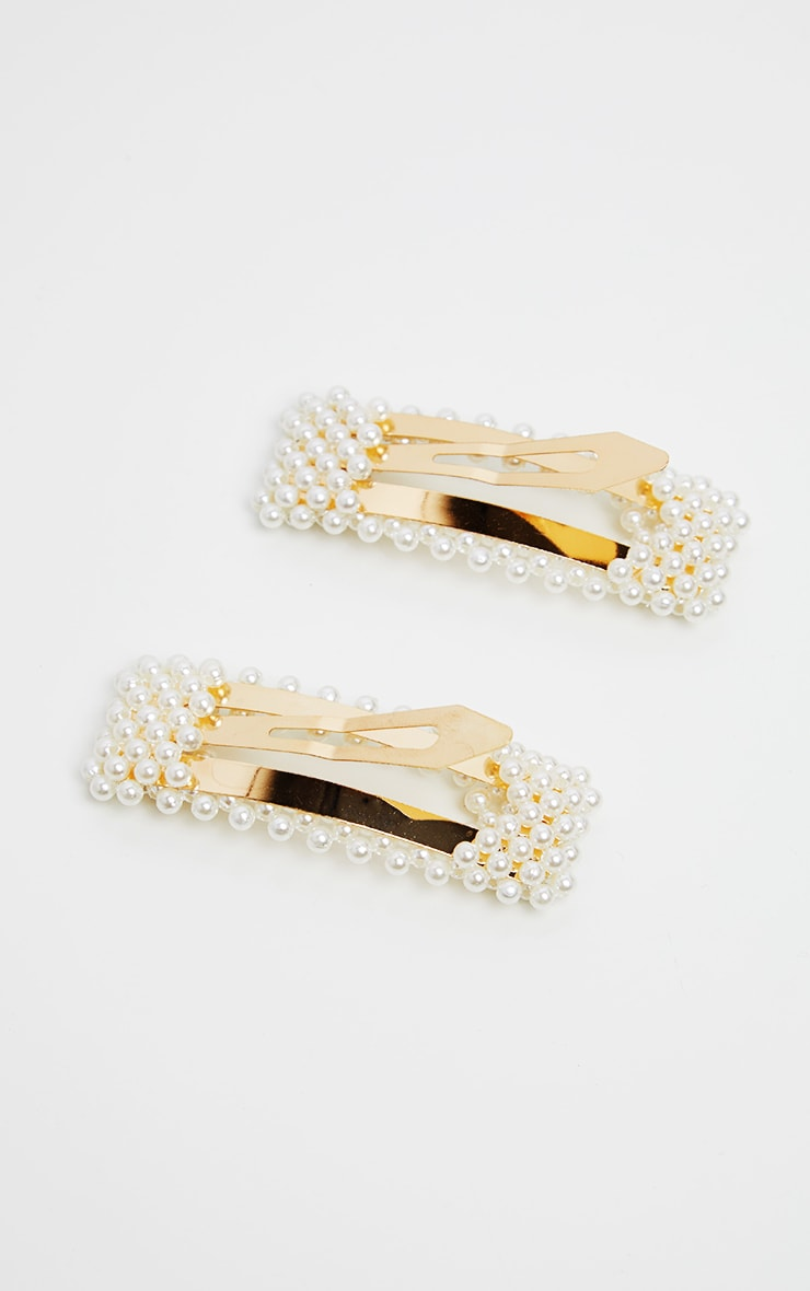 Pearl Cluster Large Two Pack Hair Slides 3