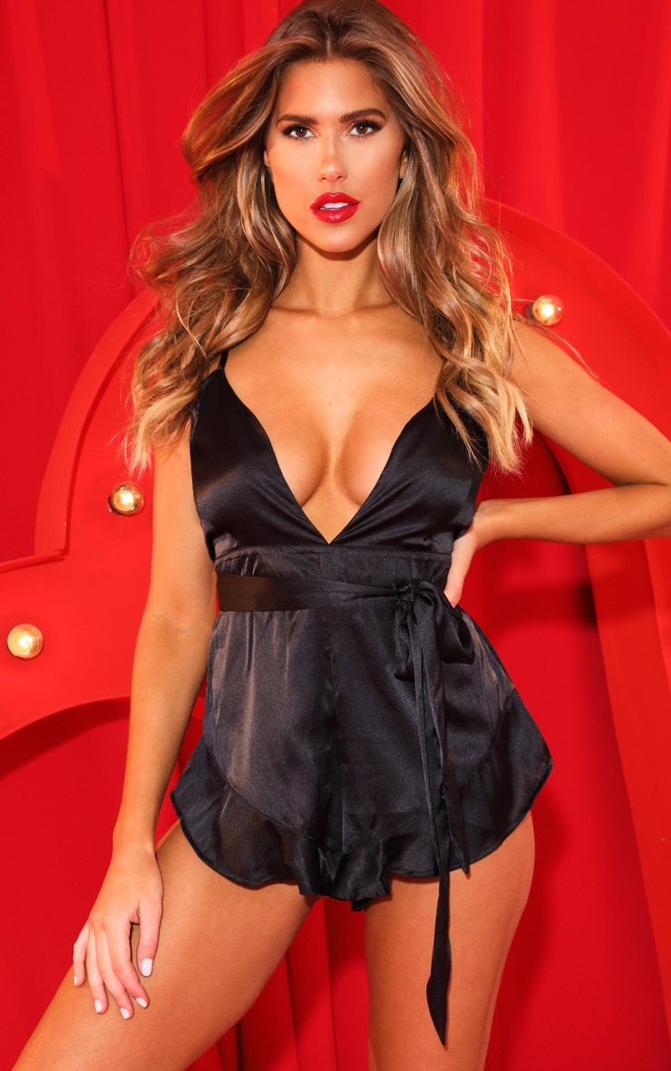 Black Tie Front Plunge Satin Teddy 1