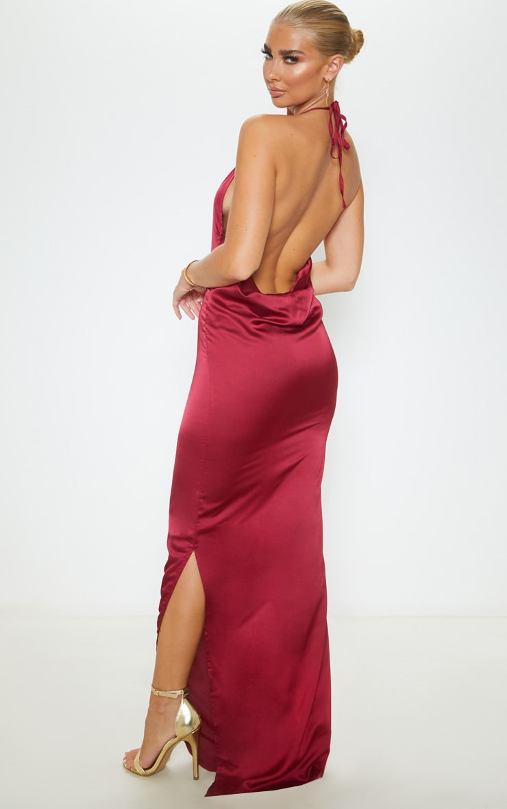 Burgundy Cowl Back Halterneck Maxi Dress 2