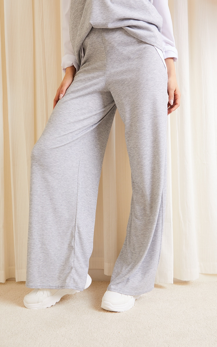 Grey Ribbed Wide Leg Trousers 2