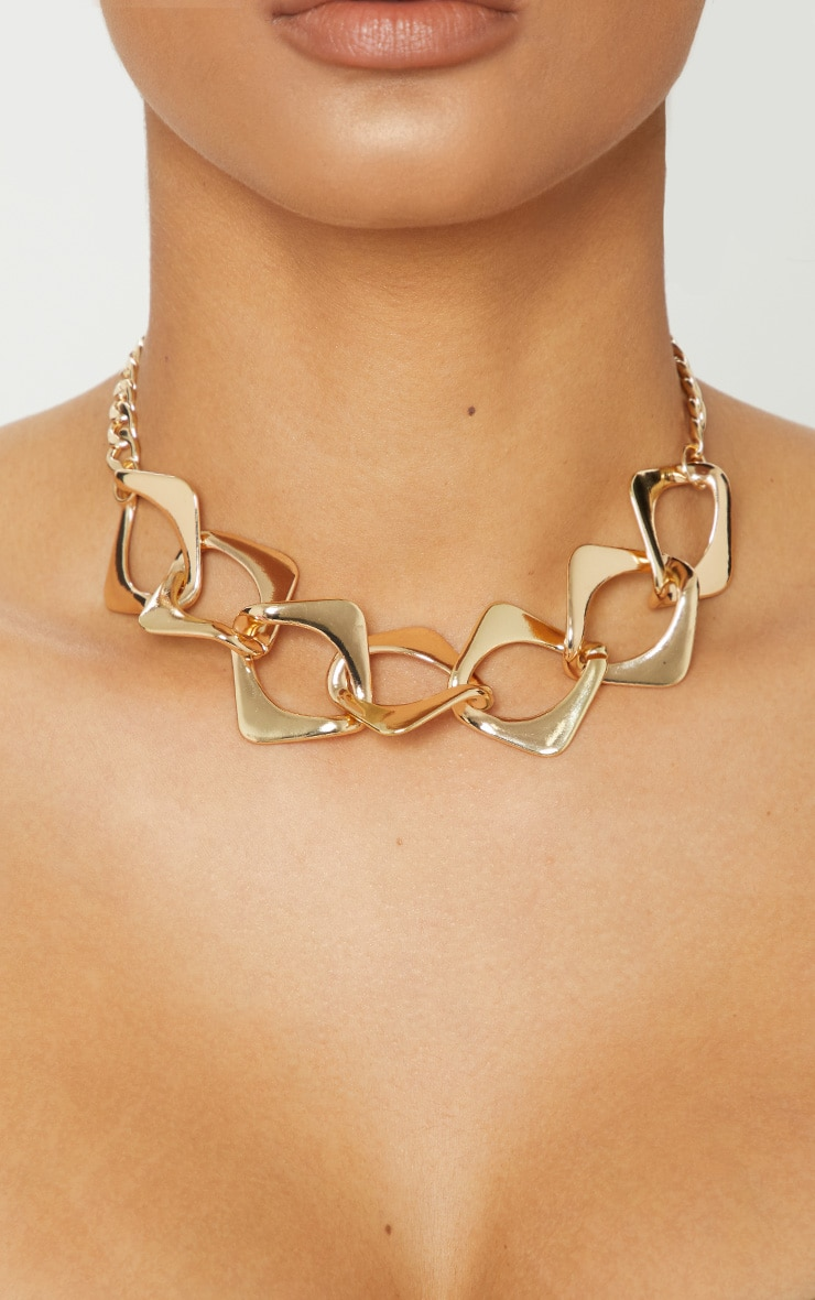 Gold Chunky Link Chain Necklace 1