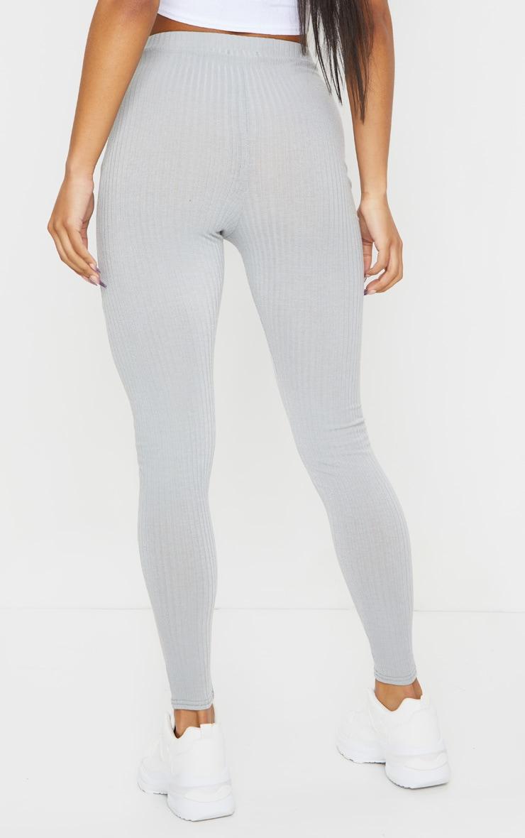Grey Ribbed Leggings 3