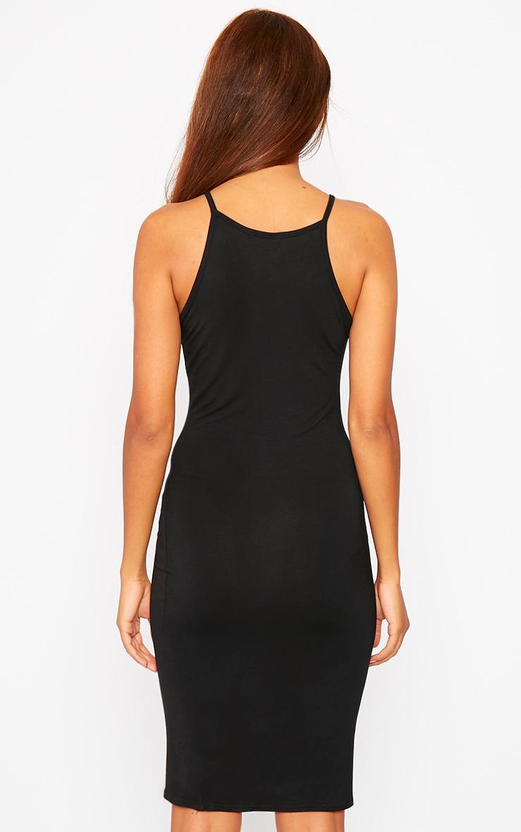 Basic Black Jersey Racer Neck Dress 2
