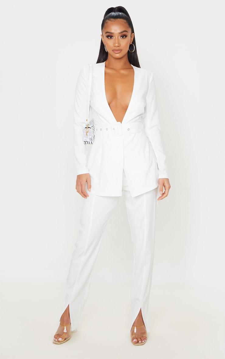 Petite Cream Split Hem Woven Suit Pants 1