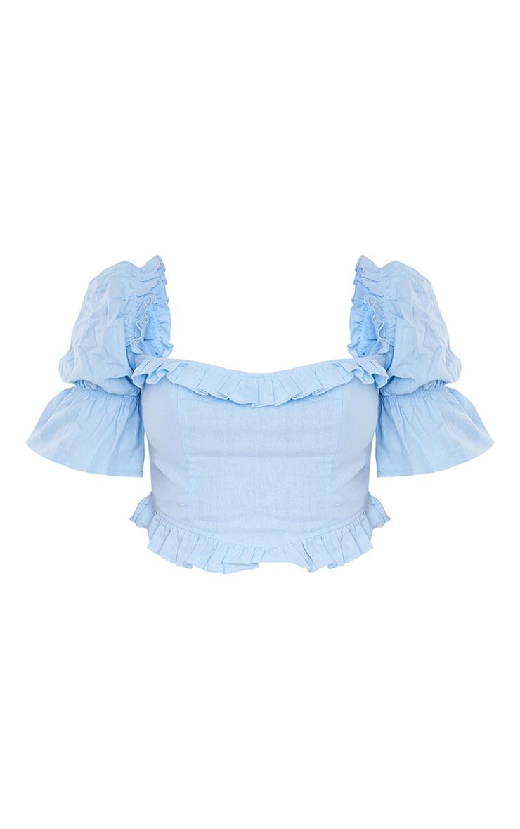 Light Blue Linen Look Frill Hem Puff Short Sleeve Crop Top 5