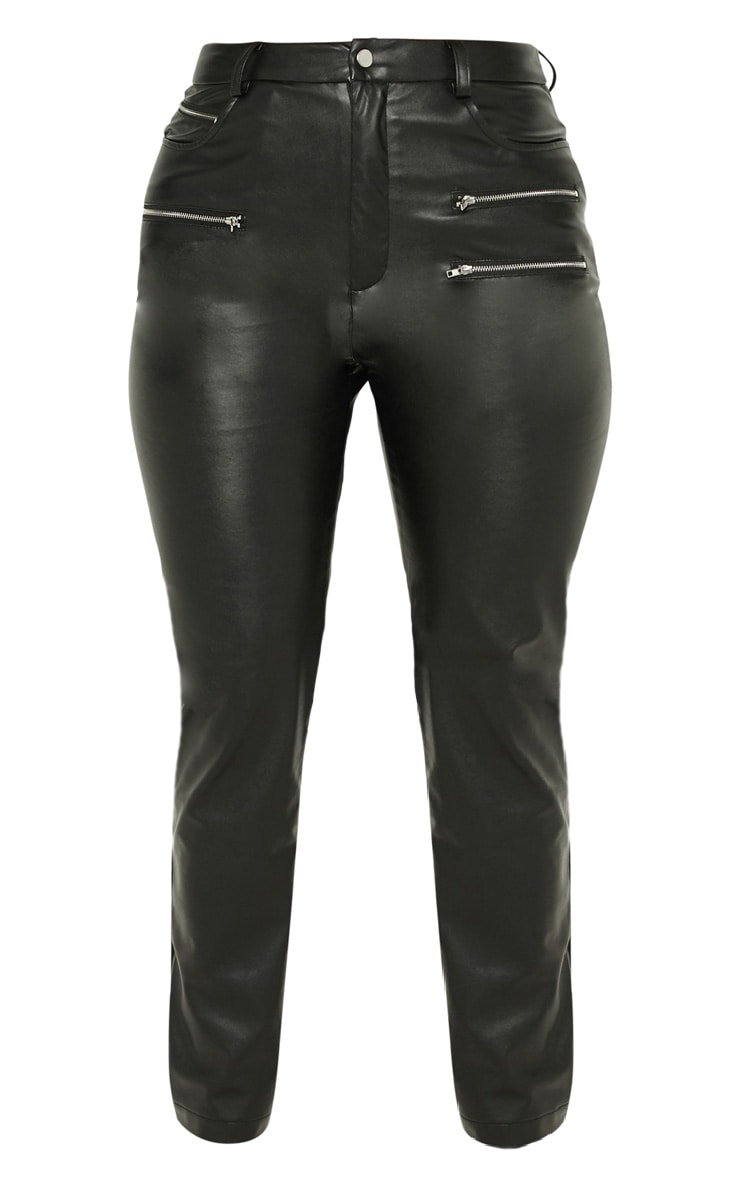 Black Faux Leather Zip Detail Skinny Pants 3