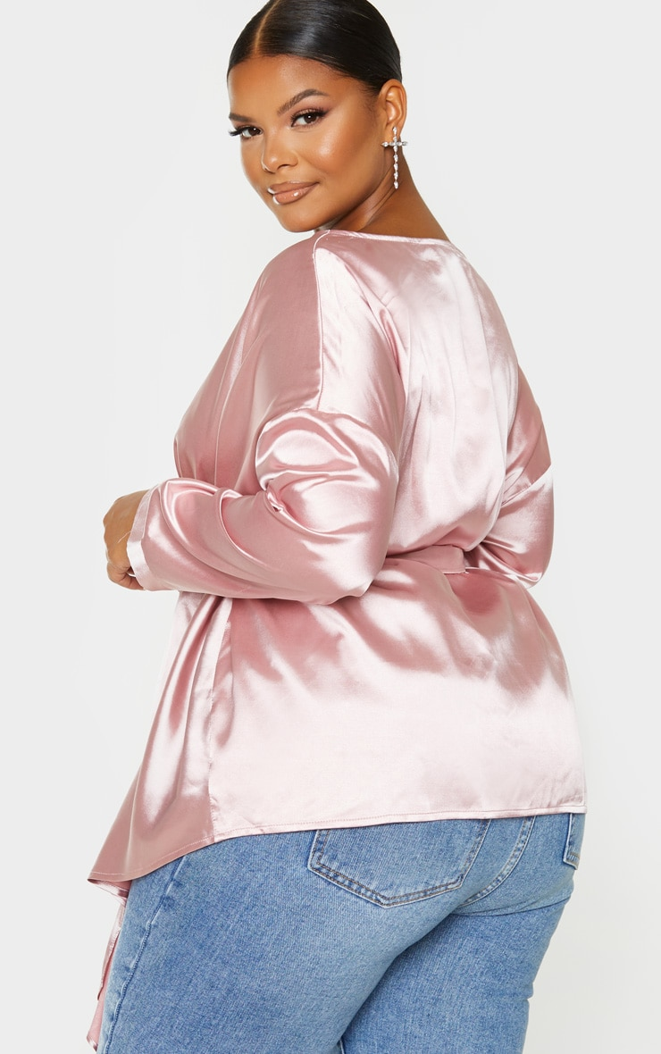 Plus Blush Satin Tie Waist Blouse 2