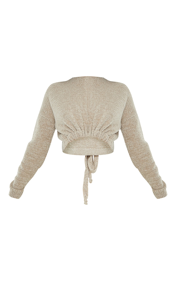 Camel Drawstring Knitted Boucle Crop Sweater 5